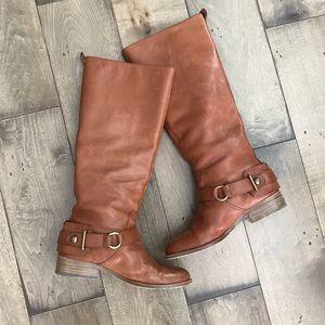 COACH Natale Riding Boots Leather Cognac Brown 7